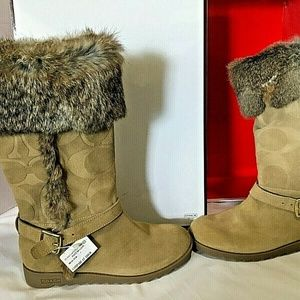 Coach Leather Boots with Fur Shoes Riding Winter